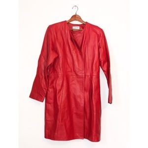 Vintage Bagatelle Red Leather Trench Coat